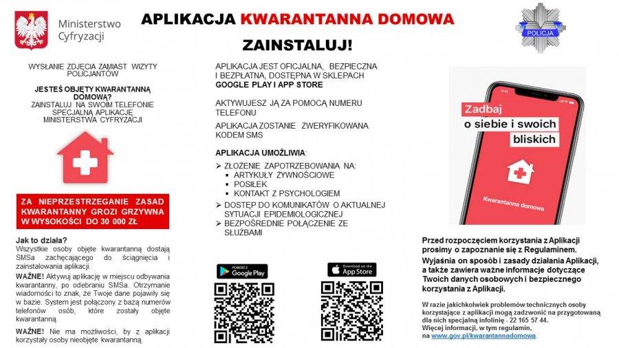 ulotka promująca aplikację kwarantanna domowa