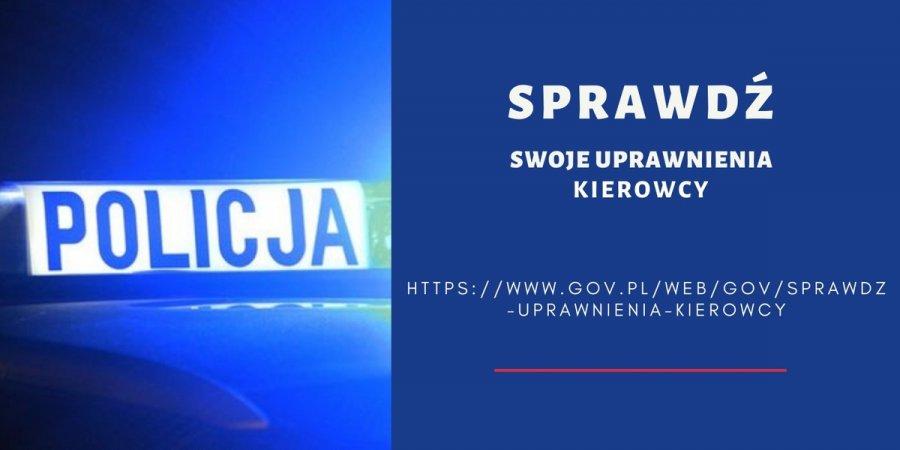 z lewej strony napis Policja na radiowozie, po lewej stronie napis sprawdź swoje uprawnienia kierowcy https://www.gov.pl/web/gov/sprawdz-uprawnienia-kierowcy