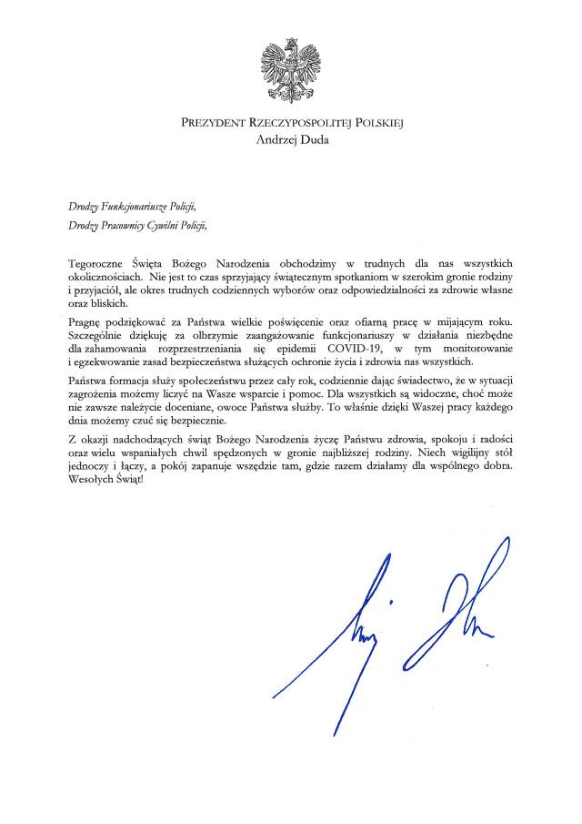 Życzenia prezydenta RP dla Policji - tekst dostępny cyfrowo poniżej