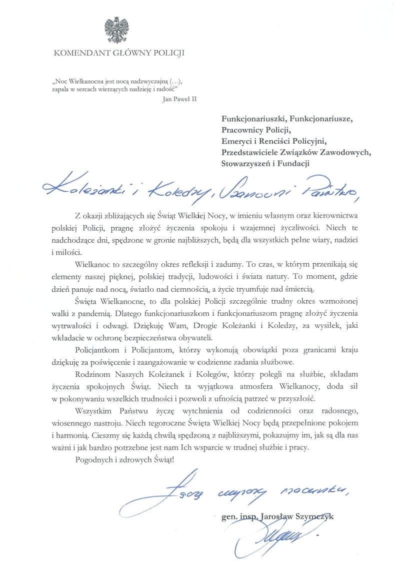 List z życzeniami Komendanta Głównego Policji - treść życzeń poniżej