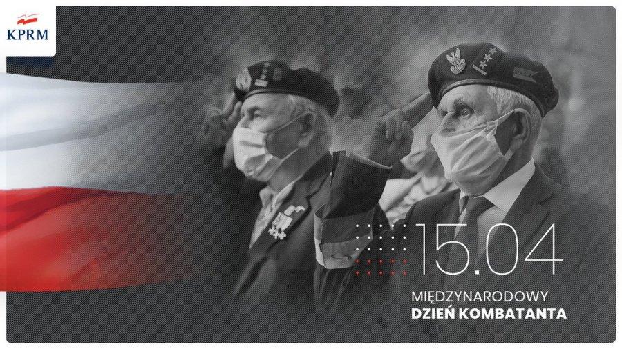 grafika przedstawia dwóch kombatantów i napis 15 kwietnia Międzynarodowy Dzień Kombatanta