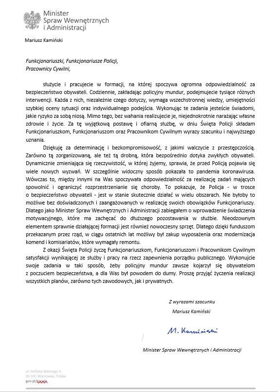 List ministra SWiA Mariusza Kamińskiego - tekst dostępny cyfrowo z załączniku poniżej