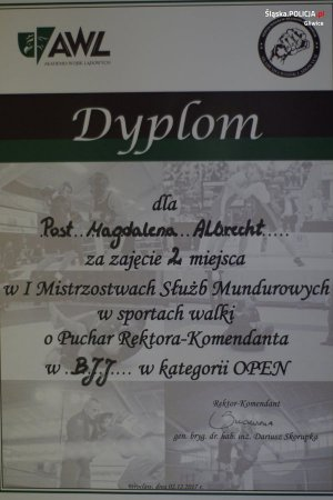 dyplom posterunkowej Magdaleny Albrecht