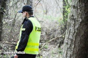 policjant podczas akcji poszukiwawczej w lesie