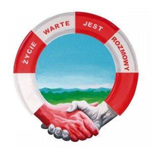 Biało czerwone koło ratunkowe z napisem: Życie warte jest rozmowy