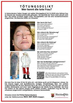 Plakat informacyjny w języku niemieckim dotyczący zwłok o nieustalonej tożsamości